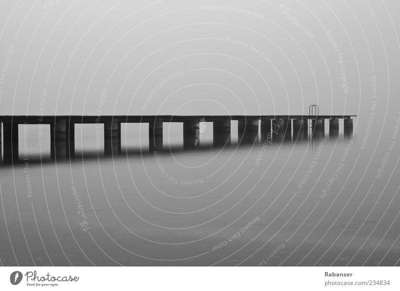 Morgen (Grau) Umwelt Küste Seeufer Gardasee kalt Traurigkeit Sorge Trauer Müdigkeit Angst Ende Italien Dolomiten Wasser Nebel gruselig Beton Leiter Zeit schwarz