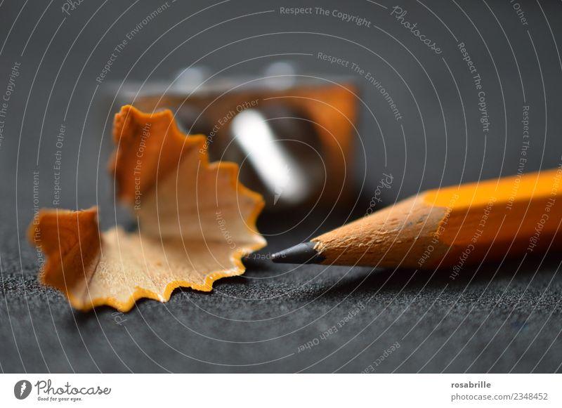 Bereit - Bleistift fertig gespitzt mit Spitzer und Späne Bildung Schule lernen Büroarbeit Arbeitsplatz Karriere Erfolg Kunst Schreibwaren Bleisstiftspitzer