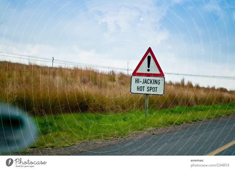 Gut zu wissen Verkehrswege Autofahren Straße Schilder & Markierungen bedrohlich Südafrika Farbfoto mehrfarbig Außenaufnahme Tag Warnhinweis Verkehrszeichen
