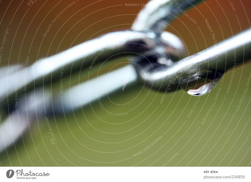 Verbundenheit grün kalt Metall Kraft nass Wassertropfen Netzwerk Sicherheit Vertrauen stark Makroaufnahme Zusammenhalt hängen Tau Kette silber