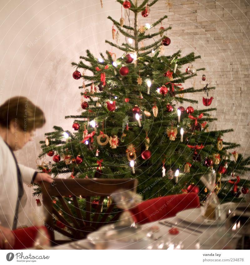Spitze abgeschnitten, sorry. Frau Weihnachten & Advent Ernährung Stil Feste & Feiern Wohnung Tisch Dekoration & Verzierung Häusliches Leben Stuhl Kerze Weihnachtsbaum Tanne Geschirr Wohnzimmer Teller