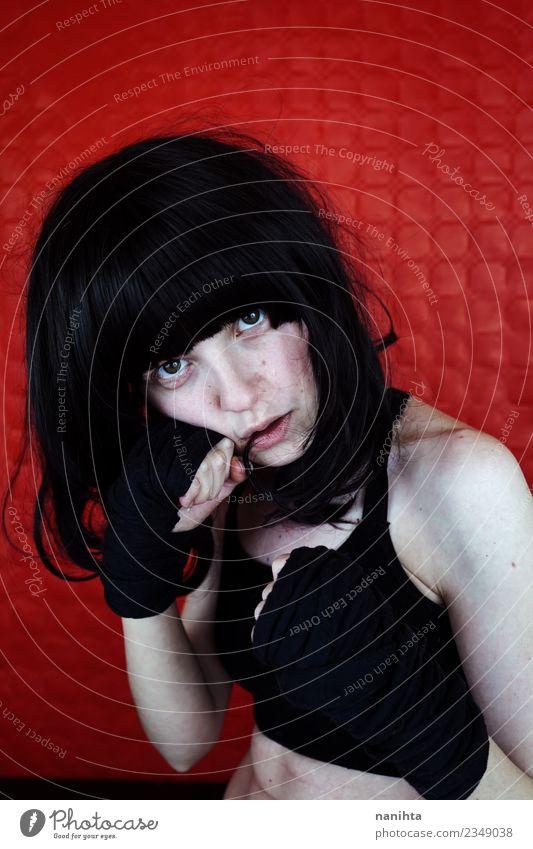 Mensch Jugendliche Junge Frau weiß rot 18-30 Jahre schwarz Gesicht Erwachsene Sport feminin Stil Haare & Frisuren Körper Kraft Fitness