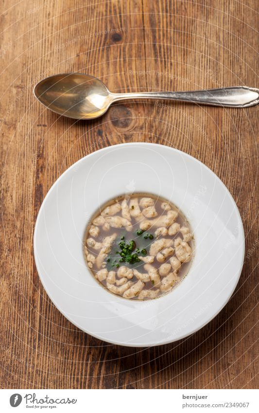 Suppn Essen Holz Lebensmittel Ernährung gut Bioprodukte Geschirr Teller Abendessen Silber Löffel rustikal Gabel Billig Suppe Petersilie