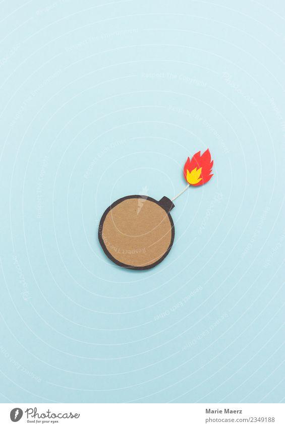 Bombe mit Zündung und Flamme Konflikt & Streit Aggression Wut blau Laster gefährlich Ärger gereizt Frustration Rache Gewalt Endzeitstimmung bedrohlich Krise