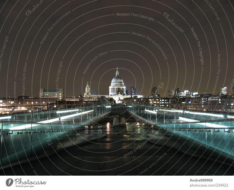 St. Paul's Cathedral bei Nacht Ferien & Urlaub & Reisen Architektur Religion & Glaube Beleuchtung Kirche Brücke Europa Skyline Wahrzeichen London Stadtzentrum
