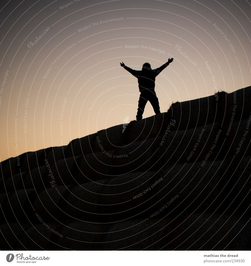 GESCHAFFT Mensch Mann Natur Freude Umwelt dunkel oben maskulin Beginn Abenteuer Erfolg stehen genießen Erwartung Wolkenloser Himmel Vorfreude