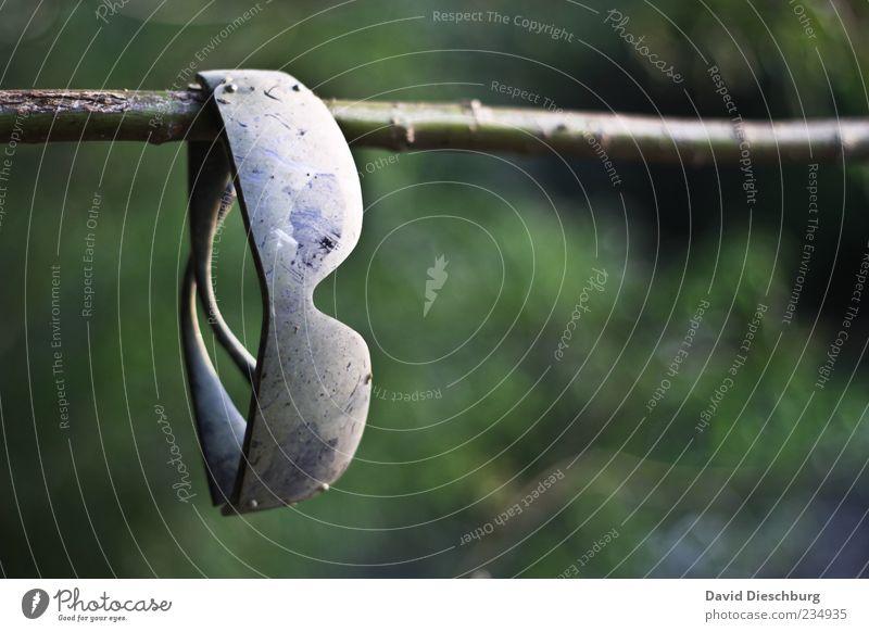 UV-Schutz 100.000(?) grün Sommer schwarz dreckig Brille Ast Schutz hängen Sonnenbrille Stock Accessoire Wetterschutz Zweige u. Äste Kontrast hängend Fundstück