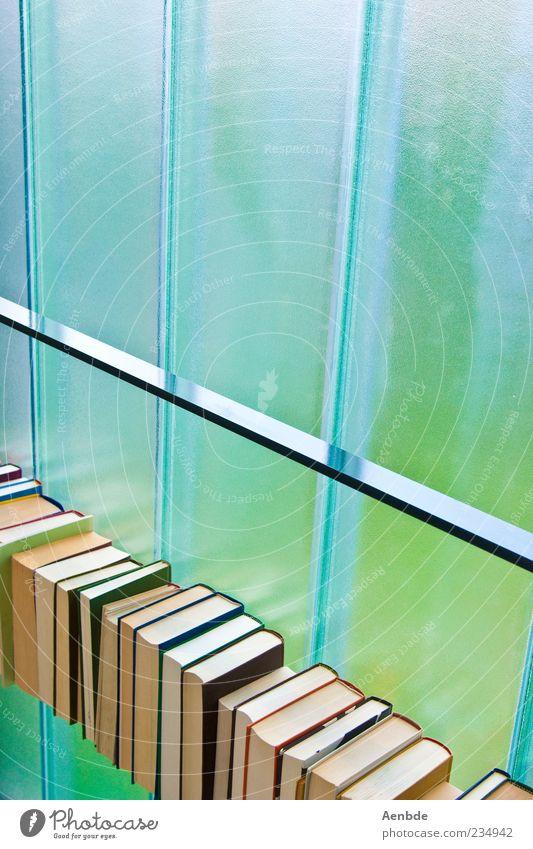Sommerbücher blau grün Fenster Buch frisch Papier diagonal Printmedien minimalistisch Druckerzeugnisse Medien Bücherregal