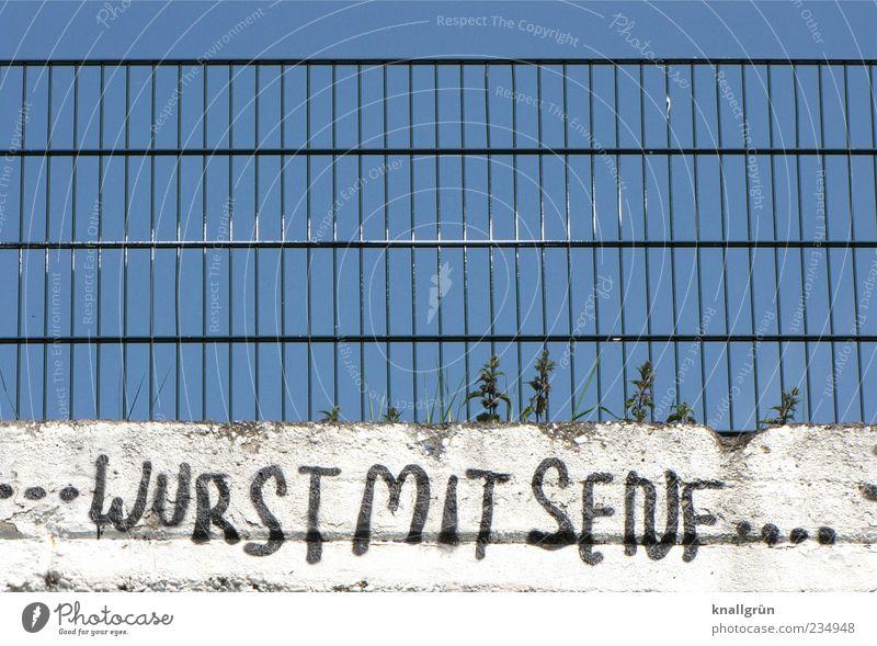 WURST MIT SENF Himmel blau weiß Freude schwarz Wand Graffiti Mauer Metall lustig Schriftzeichen einzigartig Kommunizieren Schönes Wetter Geländer skurril