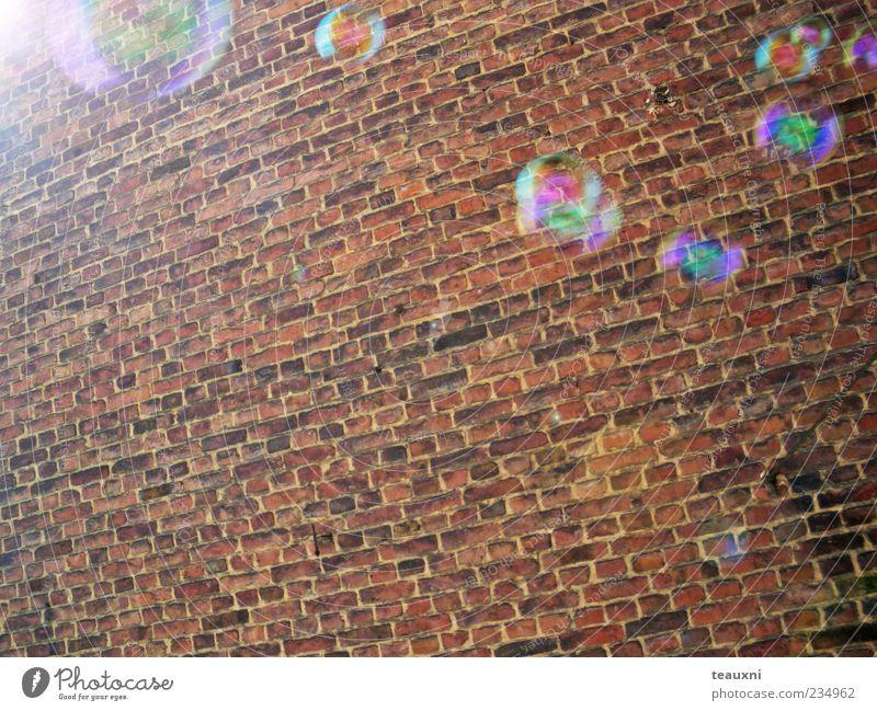 bubbly Mauer Wand Seifenblase fliegen ruhig Vergänglichkeit Farbfoto Backsteinwand schimmern Schweben Reflexion & Spiegelung Textfreiraum unten Sonnenstrahlen