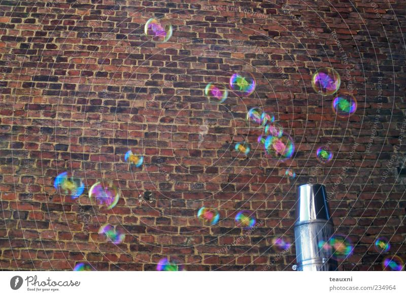 bubbly 2 Mauer Wand Seifenblase Stein fliegen Fröhlichkeit Vergänglichkeit Farbfoto Backsteinwand schimmern Schweben Menschenleer Hintergrundbild