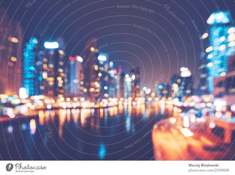 Verschwommenes Bild der Dubai Marina bei Nacht, urbaner Hintergrund Reichtum Ferien & Urlaub & Reisen Tourismus Häusliches Leben Haus Tapete Büro Business
