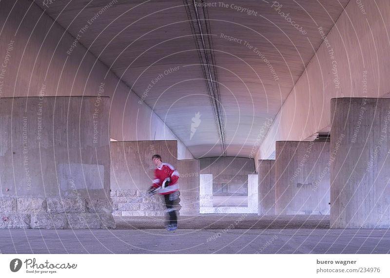 Hockeyspieler Freizeit & Hobby Hockeyschläger Sport Sportler Sport-Training Mensch maskulin Junger Mann Jugendliche 1 Brücke Stein Beton blau violett rosa
