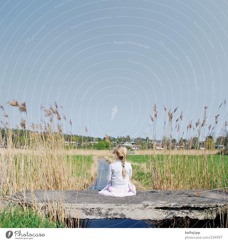 über sieben brücken... Mensch Kind Natur Wasser Pflanze Mädchen Blatt Einsamkeit Ferne Umwelt Landschaft Leben feminin Gras Frühling Haare & Frisuren