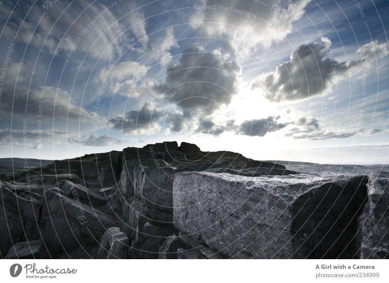 this blessed place Ferne Berge u. Gebirge Umwelt Natur Landschaft Urelemente Erde Himmel Wolken Gewitterwolken Sonnenaufgang Sonnenuntergang Sonnenlicht Wetter