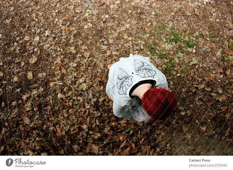 Sentimental Story Mensch Jugendliche Pflanze Blatt Einsamkeit Herbst hell warten Flügel einzigartig Engel dünn Pullover rothaarig geduldig hocken