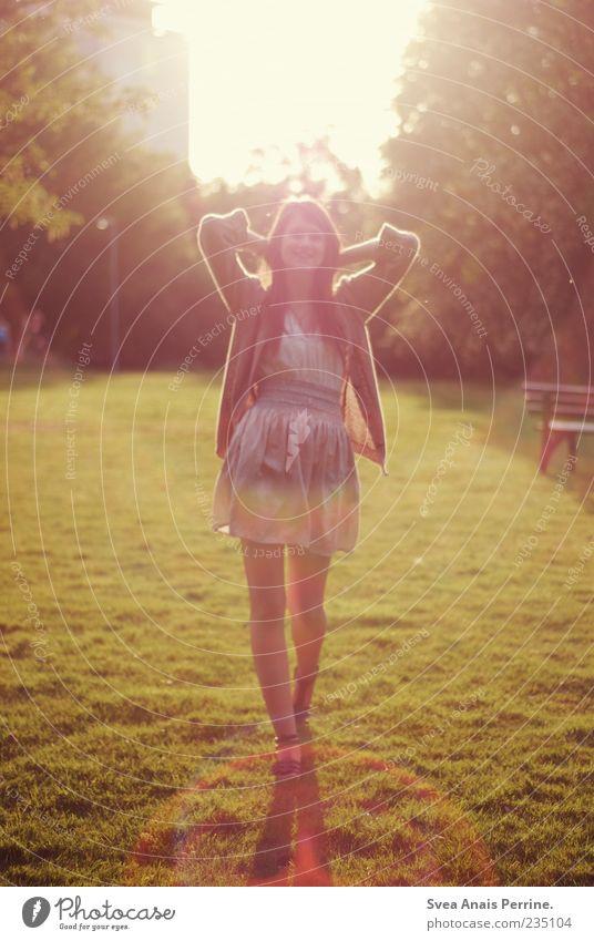 happy times. Lifestyle elegant Stil feminin Junge Frau Jugendliche 1 Mensch 18-30 Jahre Erwachsene Schönes Wetter Garten Park Rock Kleid Bewegung gehen genießen