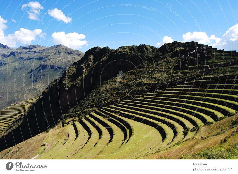 Inka-Schrebergärten grün Wolken Ferne Landschaft Berge u. Gebirge Felsen Niveau Schönes Wetter Ruine Terrasse antik Blauer Himmel Peru Anden Terrassenfelder