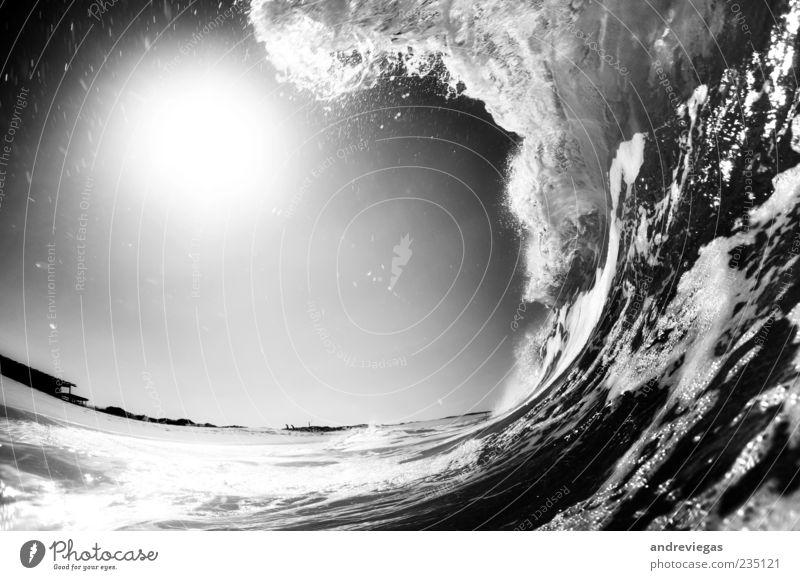 Drehen Sie den schwarzen Kreis Natur Wasser Lebensfreude Wellen Strand Schwarzweißfoto Unterwasseraufnahme Menschenleer Textfreiraum links Tag Fischauge