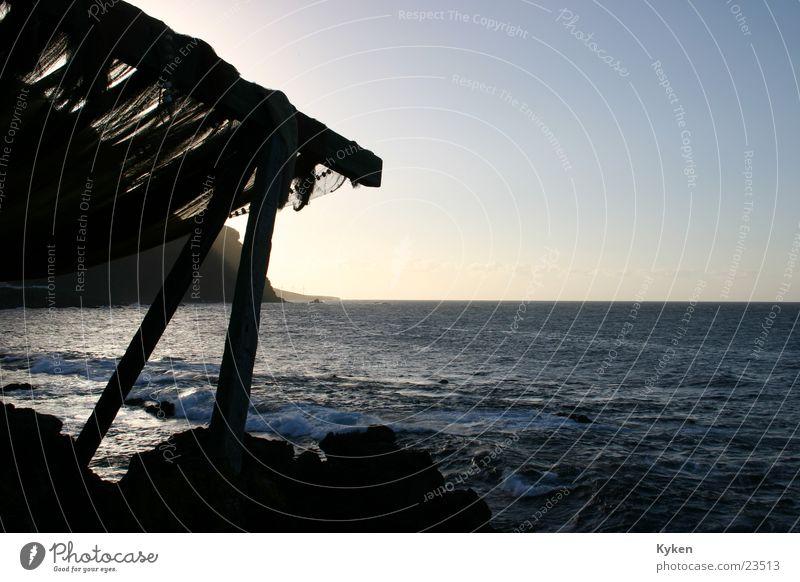 Schöne Aussicht Wasser Himmel Meer Holz Europa Romantik Strebe Balken Vordach Fischernetz