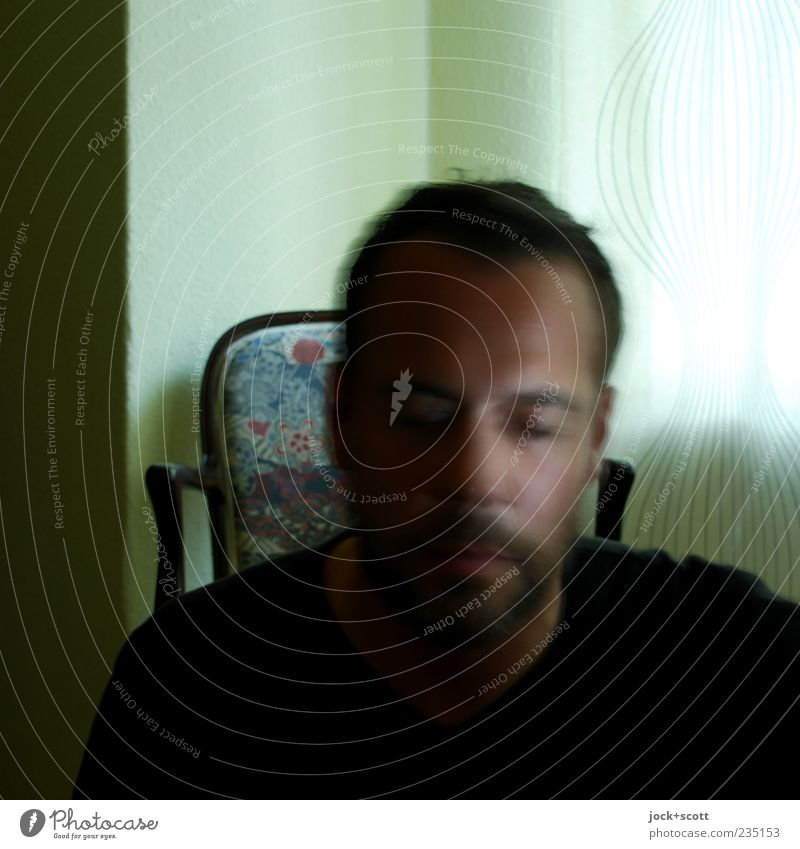 Wo (viel) Licht ist, ist auch (viel) Schatten Mensch Mann schön Erholung dunkel Erwachsene Gesicht Leben Bewegung Gefühle Gesundheit Linie hell Wohnung träumen