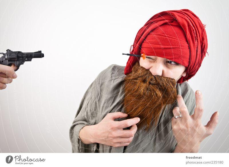 Augenmaß Mensch Frau Mann Erwachsene lustig maskulin außergewöhnlich bedrohlich Symbole & Metaphern Karneval Bart Todesangst trashig Aggression Karnevalskostüm Waffe