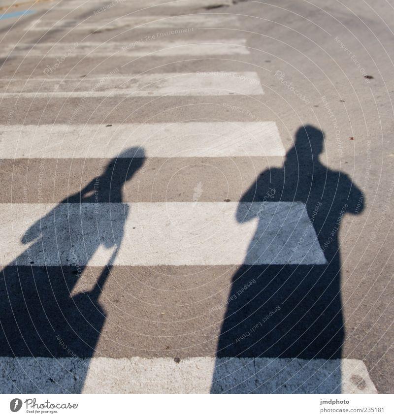 Schatten auf dem Zebrastreifen Mensch maskulin 2 Verkehrswege Personenverkehr Straßenverkehr Fußgänger Fußgängerübergang Schilder & Markierungen warten grau