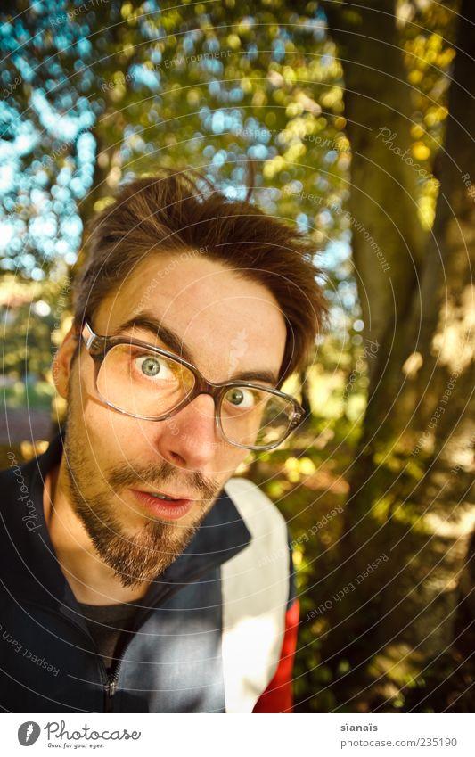 nerd in nature Mensch Mann Erwachsene maskulin Brille Bart skurril Überraschung trendy Hilferuf Fragen Freak Interesse Nervosität Hilfsbedürftig Reaktionen u. Effekte