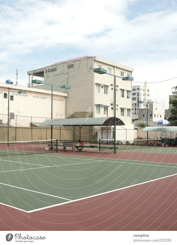 Tennis in Vietnam Sommer Haus Wand Mauer Platz Bauwerk Sportstätten Tennisplatz