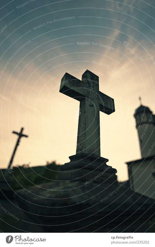 Kreuzzug Himmel Religion & Glaube Stein Kirche Schönes Wetter Kreuz Statue heilig Skulptur Dämmerung