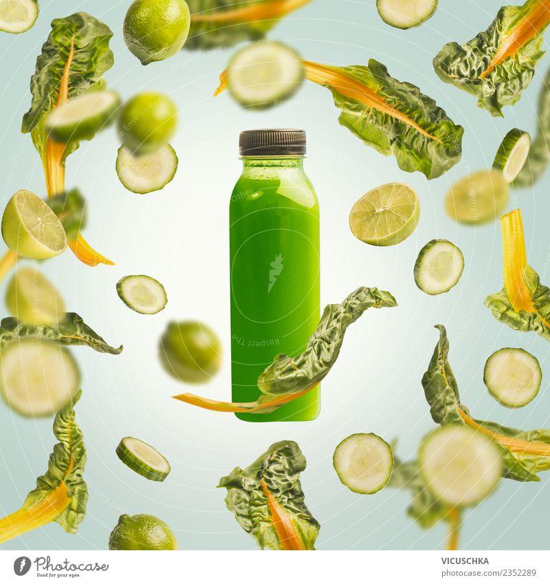 Flasche mit grünem Getränk. Saft oder Smoothie Sommer Gesunde Ernährung Gesundheit Stil Lebensmittel Design Frucht kaufen Gemüse Bioprodukte Diät