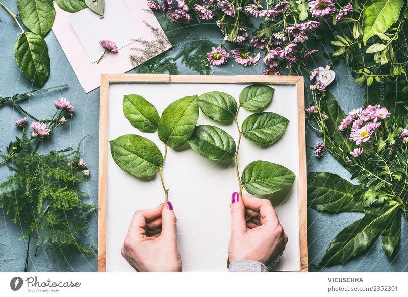 Weibliche Hände nalten grüne Zweige für Blumenstrauß Stil Design Freizeit & Hobby Dekoration & Verzierung Feste & Feiern feminin Frau Erwachsene Hand Pflanze