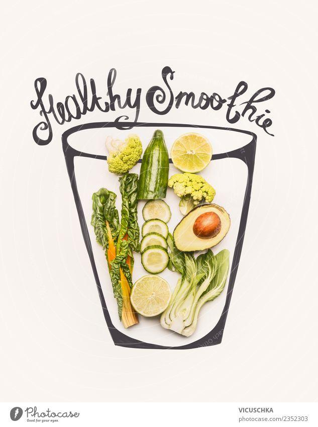 Grüne gesunde Smoothie Zutaten im Glas Lebensmittel Gemüse Frucht Getränk Erfrischungsgetränk Limonade Saft Stil Design Gesundheit Gesunde Ernährung Fitness