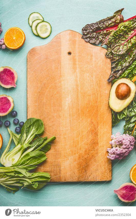 Schneidebrett Hintergrund with Obst und Gemüse Gesunde Ernährung Foodfotografie Essen Gesundheit Hintergrundbild Lebensmittel Stil Design Frucht Orange leer
