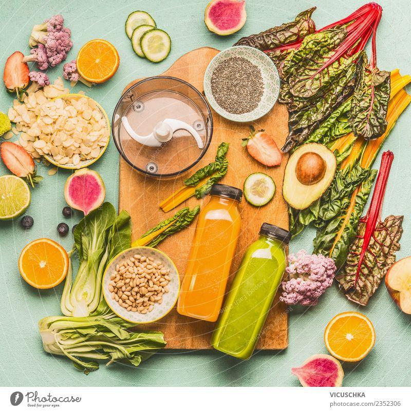 Gesundes detox Smoothie Zutaten Lebensmittel Frucht Apfel Orange Ernährung Getränk Erfrischungsgetränk Limonade Saft Flasche Stil Design Gesundheit