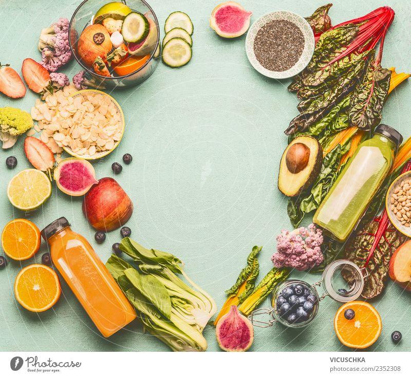 Smoohie oder Saft Flaschen mit gesunden Zutaten Getränk Erfrischungsgetränk Stil Design Gesundheit Gesunde Ernährung Tisch mint Hintergrundbild Frucht Gemüse