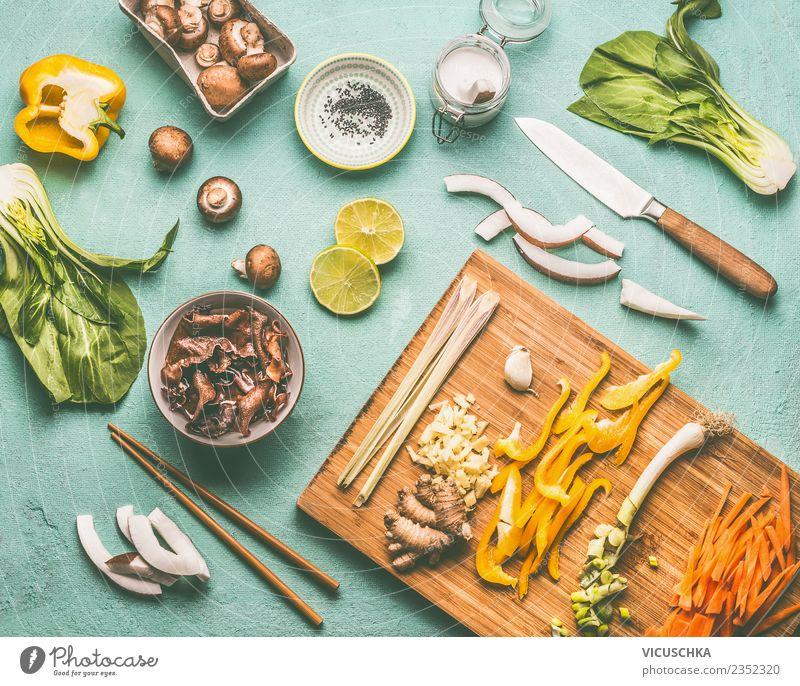 Asiatische küche, Zutaten Lebensmittel Gemüse Salat Salatbeilage Kräuter & Gewürze Ernährung Mittagessen Asiatische Küche Geschirr Schalen & Schüsseln Messer