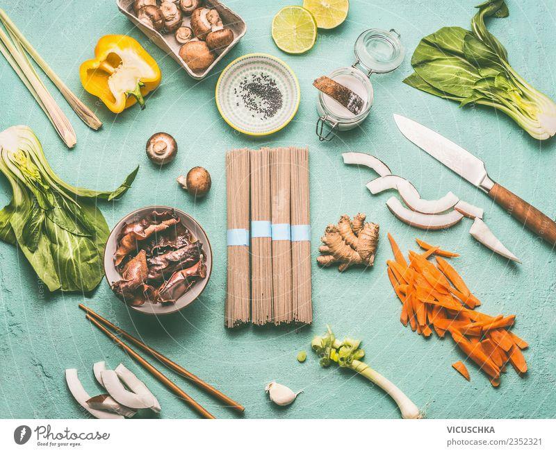 Asiatische Küche Zutaten Lebensmittel Gemüse Salat Salatbeilage Kräuter & Gewürze Ernährung Mittagessen Bioprodukte Vegetarische Ernährung Diät Geschirr Messer