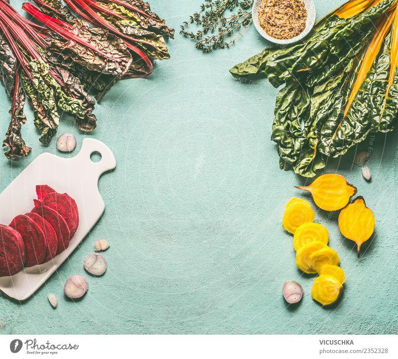 Gelbe und Rote Beten Gemüse mit Kraut Gesunde Ernährung Foodfotografie gelb Gesundheit Hintergrundbild Stil Lebensmittel Design retro Tisch Küche Bioprodukte