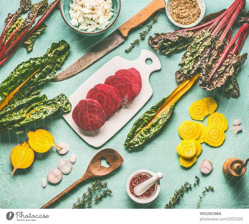 Bunte Wurzelgemüse. Gelbe- und Rotebete kochen Gesunde Ernährung Foodfotografie gelb Gesundheit Stil Lebensmittel Design Tisch Küche Gemüse Bioprodukte Geschirr