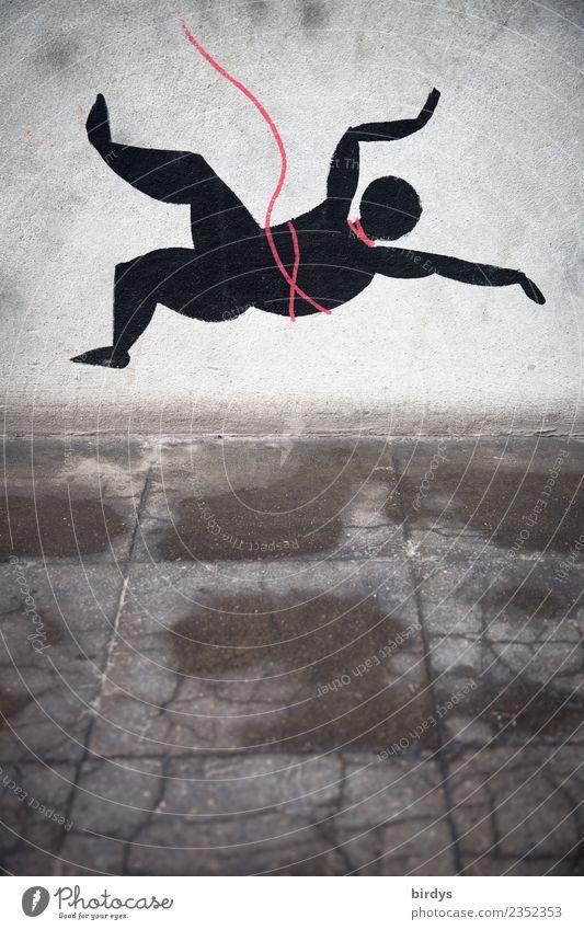 Absturz Mensch Wand Graffiti Mauer Tod Stein Angst träumen bedrohlich Sicherheit Todesangst fallen Risiko Klettern Schmerz Ende