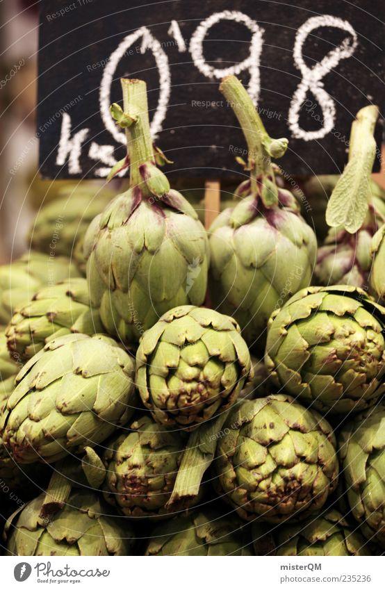 Arti die Schocke. grün Gesundheit frisch Ziffern & Zahlen viele Gemüse Tafel Handel ökologisch Markt Stapel Marktplatz Barcelona mediterran Ware Auswahl