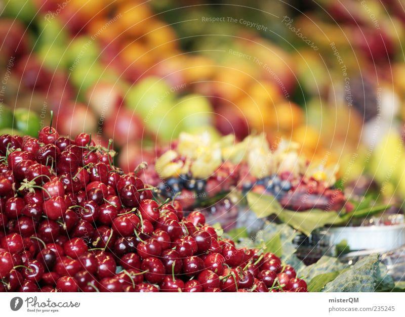 mmmh. Natur rot Lebensmittel orange Frucht frisch ästhetisch viele Apfel Gemüse Sammlung Handel Markt Marktplatz Salat Kirsche