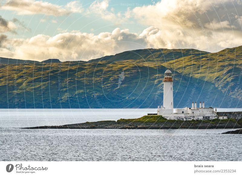 Himmel Ferien & Urlaub & Reisen blau Sommer grün Landschaft weiß Meer Einsamkeit Ferne Strand Berge u. Gebirge dunkel Architektur kalt Küste