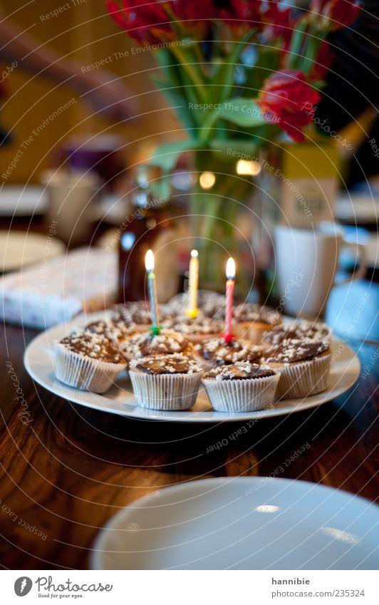 licht und lecker Kuchen Dessert Ernährung Kaffeetrinken Feste & Feiern Geburtstag süß grün rot weiß Freude Fröhlichkeit Muffin Kerze Farbfoto mehrfarbig