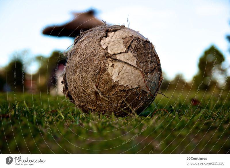 Mein alter Fussball - My old football Ball einfach retro grün Farbfoto Außenaufnahme Menschenleer Textfreiraum oben Tag Schwache Tiefenschärfe Froschperspektive