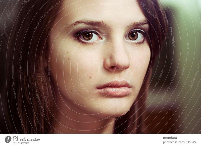 Jugendliche schön Gesicht Auge feminin Haare & Frisuren Kraft Haut Erwachsene elegant Lippen Sauberkeit dünn Schminke Kosmetik brünett