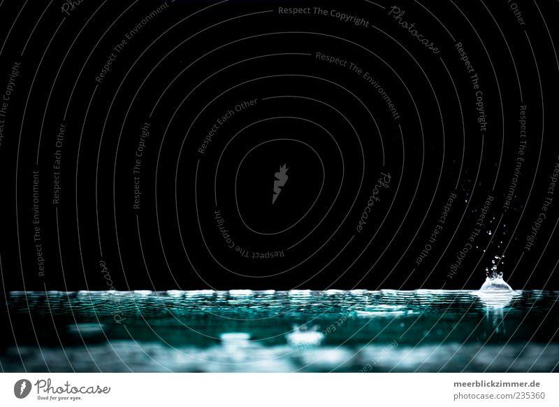blob Wasser Wassertropfen Wetter schlechtes Wetter Regen nass blau Außenaufnahme Menschenleer Textfreiraum links Textfreiraum oben Hintergrund neutral Schatten