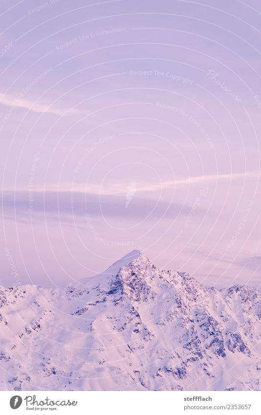 Rosa Alpenglühen Ferien & Urlaub & Reisen Tourismus Ferne Winter Schnee Winterurlaub Berge u. Gebirge wandern Wintersport Klettern Bergsteigen Skifahren