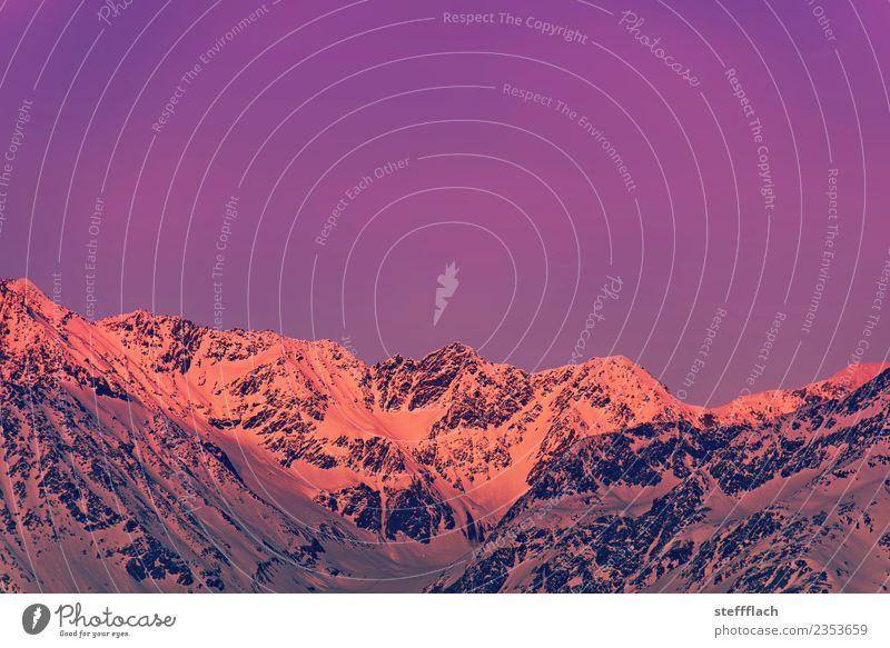 Alpenglühen Meditation Ferien & Urlaub & Reisen Winter Schnee Winterurlaub Berge u. Gebirge wandern Weihnachten & Advent Silvester u. Neujahr Wintersport